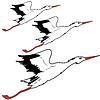 Векторный клипарт: Белый аист в полете.
