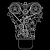 Vector clipart: racing engine, front view