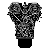 Vector clipart: Internal combustion engine, as seen of in front