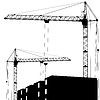 Silhouette of two cranes working on building
