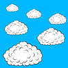 Vector clipart: Set of colorful clouds