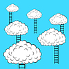 Vector clipart: Clouds with stairs,