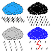 Vector clipart: Clouds with precipitation,