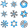 Vector clipart: blue and gray dingbats