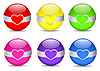 Vector clipart: Colored spheres with metal rim