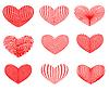 Vector clipart: Drawn hearts