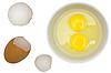 Фото 300 DPI: Оболочка яйца, сырые яйца в тарелку.
