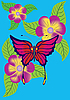 Butterfly and flowers | Stock Illustration