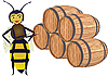 Vector clipart: Bee with wooden butts.