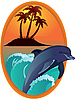 Vector clipart: Dolphin near tropical island in wooden frame