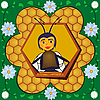 Vector clipart: bee and honeycombs in flower frame