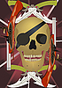 Vector clipart: Skull with the crossed knives and pistols