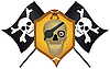 Vector clipart: Skull with the crossed pistols and knives
