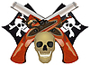 Vector clipart: Skull with the crossed pistols