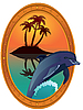 Vector clipart: Dolphin and tropical island
