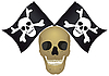Vector clipart: Skull with the crossed flags