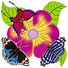 Vector clipart: butterflies and flower