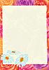Blatt Papier auf einem Blumen-Hintergrund