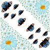 Vector clipart: flowers and butterflies