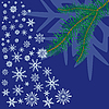 Vector clipart: Spruce branch with snowflakes