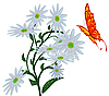 Vector clipart: Abstract butterfly, and flower
