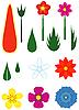Векторный клипарт: Набор цветов и листьев