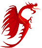Vector clipart: Heraldry, red dragon.