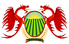 Vector clipart: Heraldry, red dragons holding shield.
