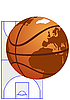 Globe as basketball | Stock Vector Graphics