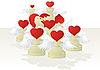 Vector clipart: Amorous white chessmen