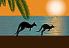 Vector clipart: Australian coast with kangaroo