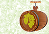 Vector clipart: Barrel of wine and corkscrew