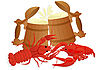 Vector clipart: Beer with boiled crawfish