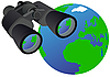 Vector clipart: Binoculars and globe