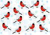 Vector clipart: Bullfinches and snowflakes