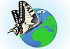 Butterfly on globe