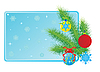 Vector clipart: Christmas tree branch and balls
