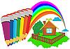 Векторный клипарт: Цветные карандаши и радуга