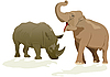 Vector clipart: Elephant and rhino