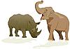 Векторный клипарт: Слон и носорог