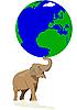 Elephant mantiene a la Tierra | Ilustración vectorial