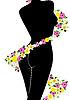 Векторный клипарт: Фигура женщины и цветы