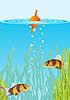 Векторный клипарт: Рыбы и поплавок