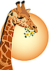 Vector clipart: Giraffe with flowers