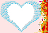 Vector clipart: Heart, flowers and butterflies