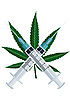 Vector clipart: Hemp leaves and syringes