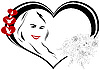 Vector clipart: lady in the heart with flowers