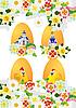 Векторный клипарт: пасхальная открытка с яйцами и цветами