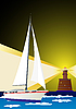 Vector clipart: Lighthouse and sailing yacht