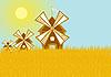 Векторный клипарт: Мельницы в поле зерновых